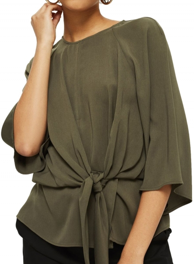 Casual Loose Round Neck Dolman Sleeve Lace-Up Solid Blouse