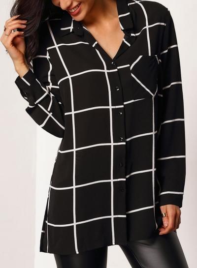 Fashion Casual Loose Long Sleeve Turn-Down Collar Plaid Button Down Shirt