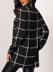 963b09f1 ... Fashion Casual Loose Long Sleeve Turn-Down Collar Plaid Button Down  Shirt ...