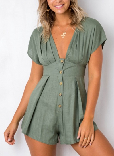 Summer Casual V Neck Short Sleeve Single-Breasted Wide Leg Solid Romper