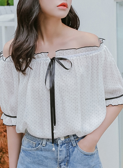 Summer Sexy Off The Shoulder Polka Dots Half Sleeve Loose Blouse