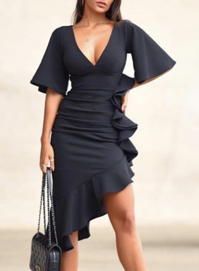 Sexy Slim V Neck Flare Sleeve Ruffle Trim Slit Cocktail Dress