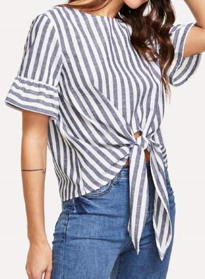 Summer Casual Striped Round Neck Short Sleeve Knot Loose Blouse