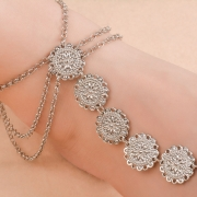 Fashion Vinatge Concise Alloy Carved Disk Tassel Anklets