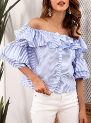 Sexy Striped Off The Shoulder Flounce Sleeve Loose Button Down Shirt