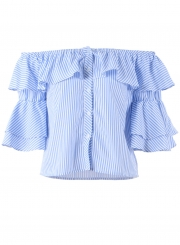 396eaaec ... Sexy Striped Off The Shoulder Flounce Sleeve Loose Button Down Shirt ...