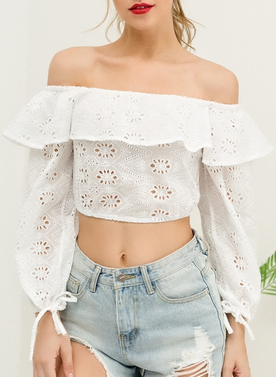 Summer Sexy Off The Shoulder Crop Top Long Sleeve Hollow Out Blouse