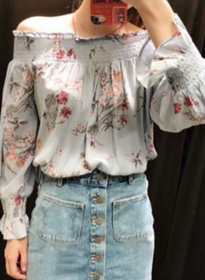 Casual Sexy Floral Printed Off The Shoulder Long Sleeve Loose Blouse