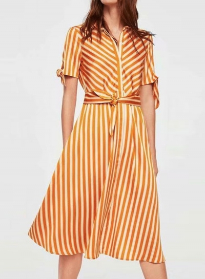Casual Striped Short Sleeve Turn Down Collar Button Down Dress With Tie