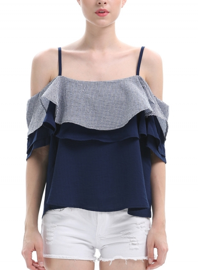 Summer Casual Spaghetti Strap Off The Shoulder Ruffle Loose Blouse