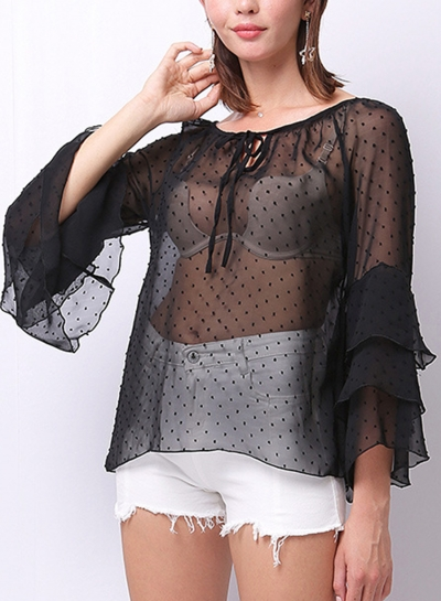 Summer Casual Round  Neck Flounce Sleeve Loose Transparent Blouse