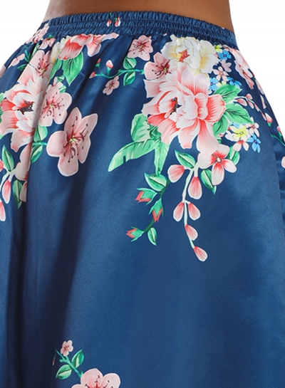 04f58e1bba1b Coral Floral Elegant Flared Elastic Waist Maxi Skirt - STYLESIMO.com
