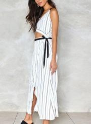 f118a85bca2dc ... Sexy Striped Spaghetti Strap V Neck Crop Top Bow Tie Slit Dress ...