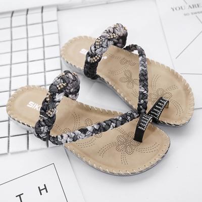 a99acc8842f7 Fashion Bohemia Summer Beach Thong Flat Sandals With Crystal - STYLESIMO.com