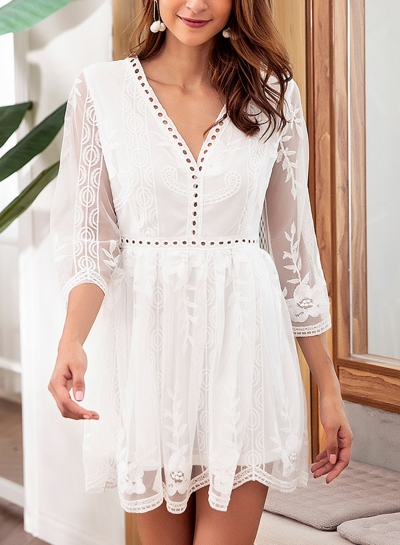Casual 3/4 Sleeve V Neck High Waist Lace Hollow Out A-line Dress