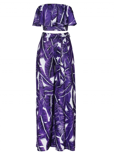 Fashion Printed Chest Wrapped Ruffle Crop Top Waist Tie Wide Leg Pants Set