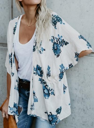 Casual Floral Print Dolman Sleeve Elastic Waist Loose Cardigan