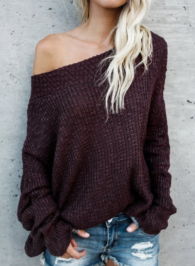 Sexy Off The Shoulder Long Sleeve Loose Solid Sweater