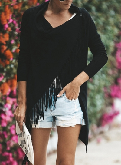 Casual Solid V Neck Long Sleeve Irregular Cardigan With Tassel