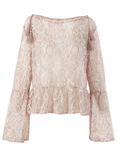 Fashion Floral Flare Sleeve Round Neck Loose Ruffle Blouse