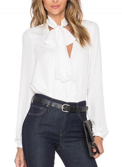 Casual V Neck Long Sleeve Bow Tie Solid Color Pullover Blouse