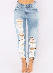 Fashion Casual High Waist Destroyed Straight Leg Loose Fit Jeans