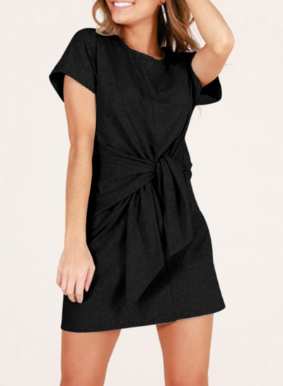 Fashion Loose Round Neck Short Sleeve Front Tie A-line Dress