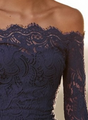 bf4fadcec59 ... Sexy Off Shoulder Flare Sleeve Elastic Waist Lace Bodycon Cocktail Dress  ...