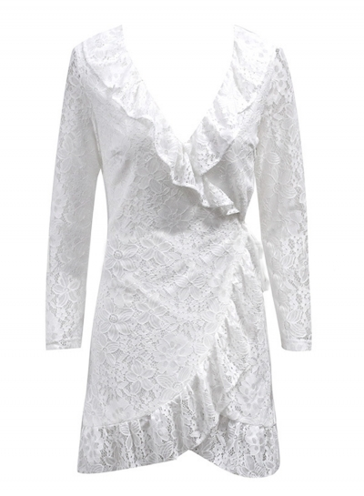 Lace V Neck Long Sleeve Wrap Slim Irregular Solid Dress