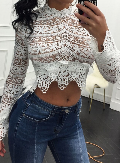 Summer Lace Long Sleeve Hollow Out Crop Top Blouse