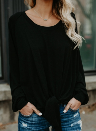 Casual Round Neck Long Sleeve Bow Tie Loose Blouse