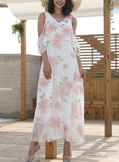 White Chiffon Sexy Floral Print V Neck High Waist Swing Maxi Dress
