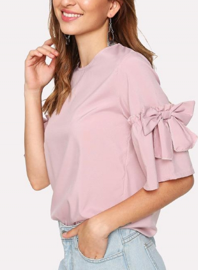 Casual Flare Sleeve Round Neck Loose Solid Color Blouse With Bow