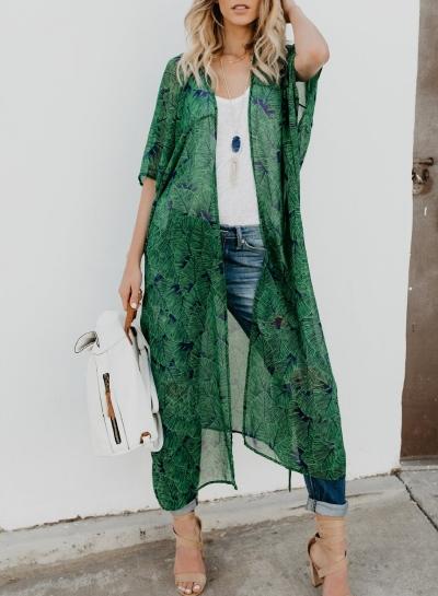 Chiffon Leaf Print Half Sleeve Open Front Loose Kimono Cardigan
