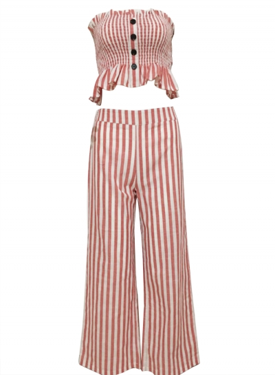 2 Piece Striped Chest Wrapped Crop Top Wide Leg Pants