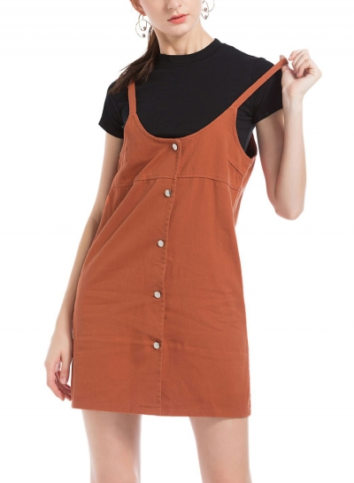 Casual Single-Breasted Solid Color A-line Loose Suspender Dress
