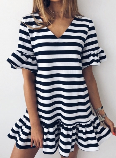 Striped V Neck Flounce Sleeve Loose Ruffle Mini Dress