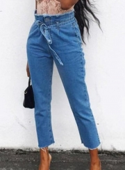 High Waist Slim Pockets Jeans With Belt