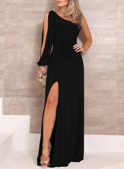 Sexy Rushed One Shoulder Slit Solid Color Asymmetric Maxi Dress STYLESIMO.com