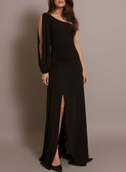 Sexy Rushed One Shoulder Slit Solid Color Asymmetric Maxi Dress