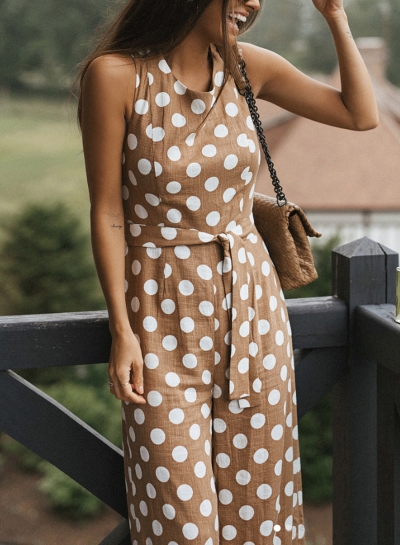 Sleeveless Round Neck Wide Leg Polka Dot Jumpsuit