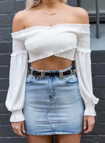 Sexy Off Shoulder Long Sleeve Crop Top Slim Blouse