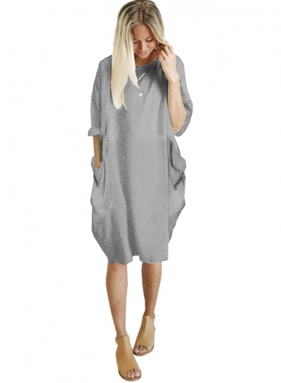Solid Oversized Round Neck Long Sleeve Loose Pockets Dress STYLESIMO.com