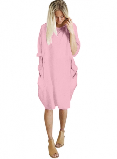 Solid Oversized Round Neck Long Sleeve Loose Pockets Dress