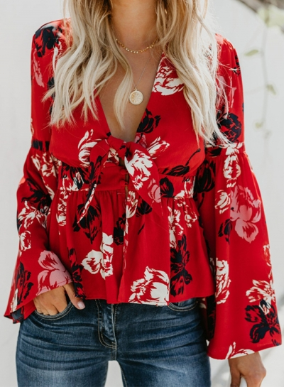 Casual Floral Print V Neck Flare Sleeve Bow Tie Loose Blouse
