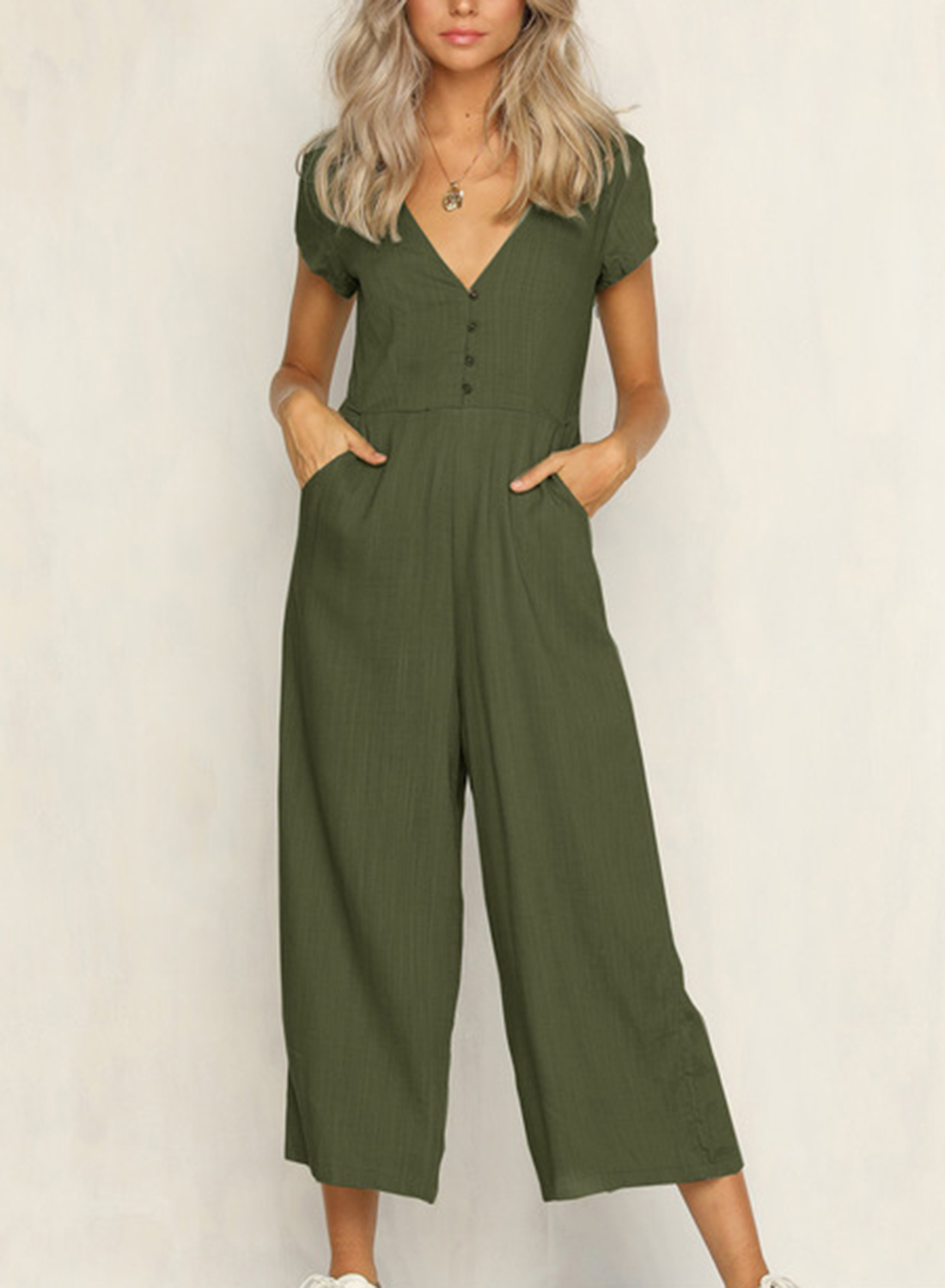 1428249dc5e Loading zoom. Casual Short Sleeve V Neck Front Buttons Wide Leg Jumpsuit  With Pockets  Casual ...