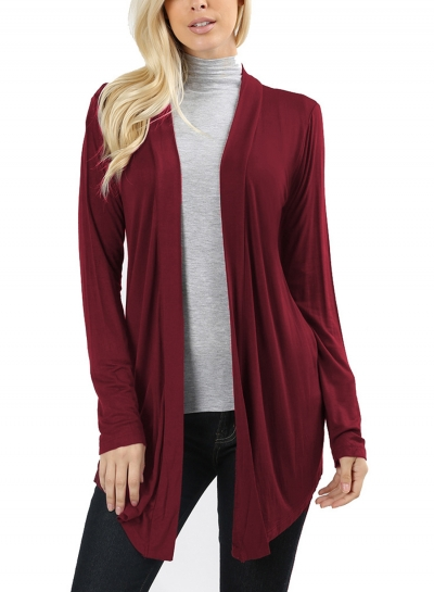 Casual Long Sleeve Open Front Solid Color Long Cardigan
