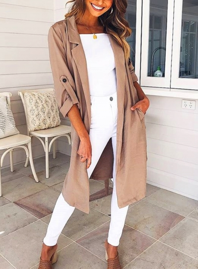 Khaki Autumn Thin Coat Windbreaker STYLESIMO.com