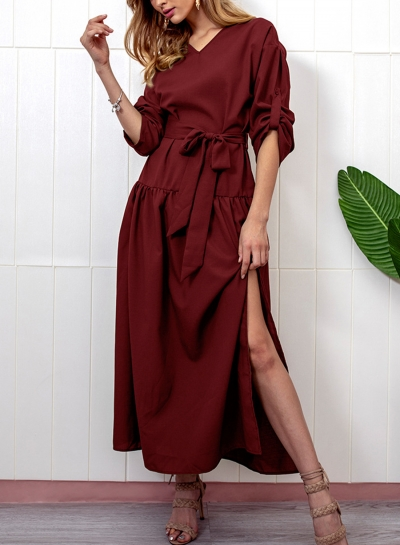 Burgundy V Neck Long Sleeve Bow Tie Slit Loose Dress