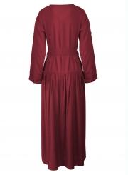 Burgundy V Neck Long Sleeve Bow Tie Slit Loose Dress